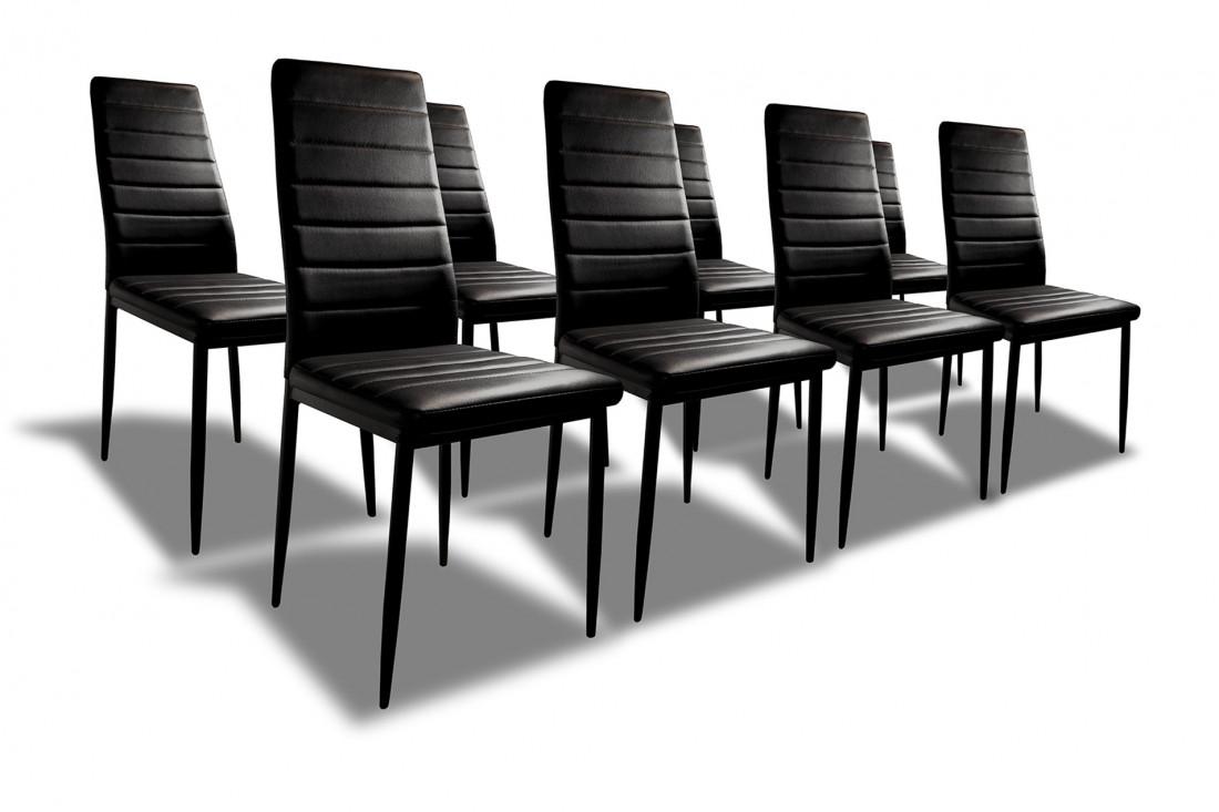 SANDY - Lot de 8 chaises - Simili - Noir