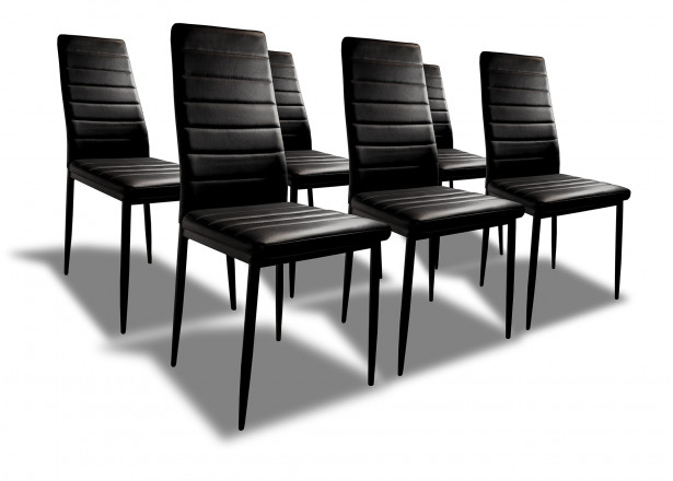 SANDY - Lot de 6 chaises - Simili - Noir