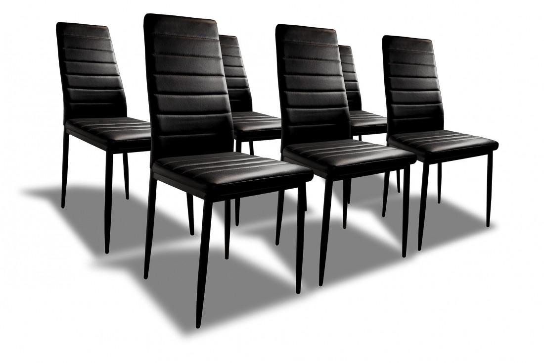 Sandy lot de 6 chaises simili noir best mobilier - Lot de 6 chaises de salle a manger ...