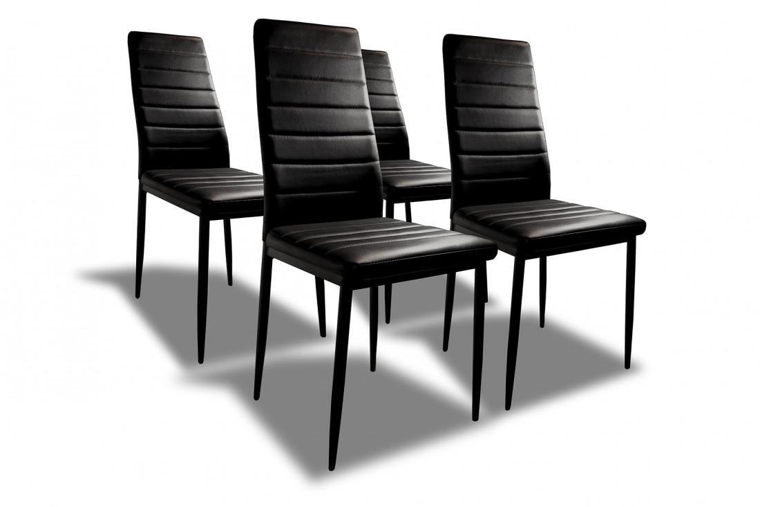 SANDY - Lot de 4 chaises - Simili - Noir
