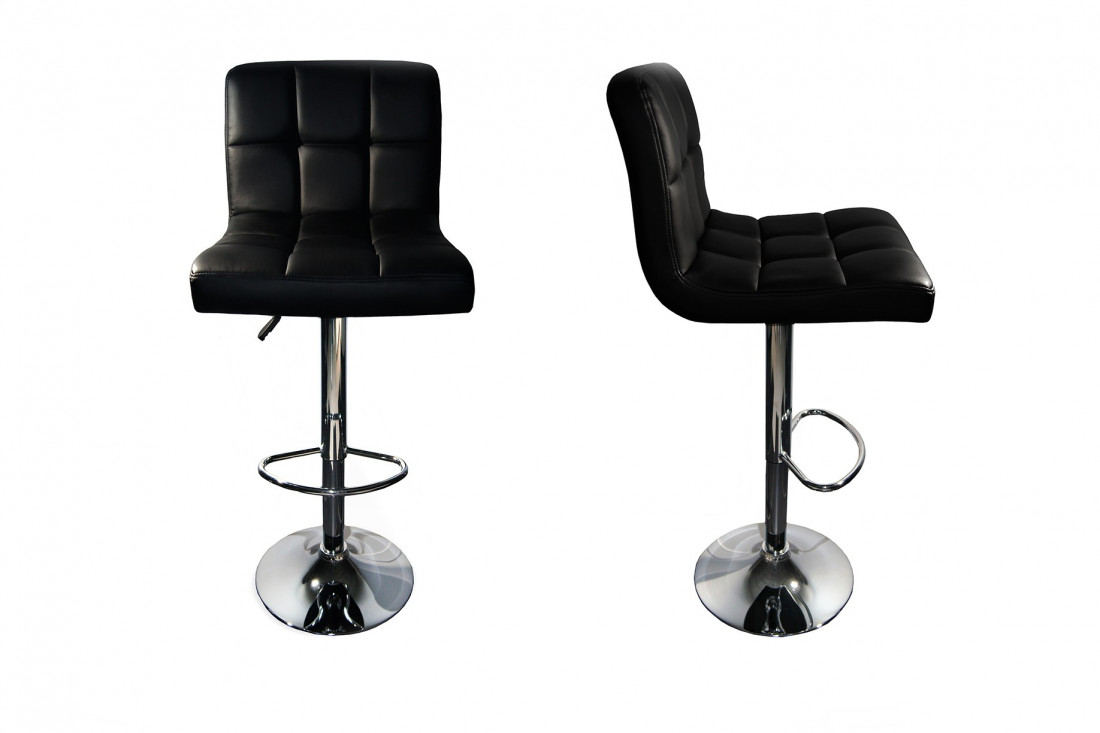 dave lot de 2 tabourets de bar simili noir - Lot De 2 Tabouret De Bar
