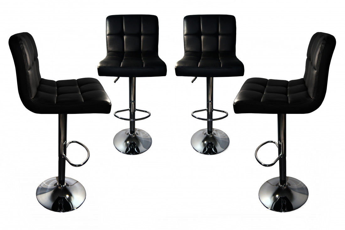 dave lot de 4 tabourets de bar simili noir lisa design. Black Bedroom Furniture Sets. Home Design Ideas