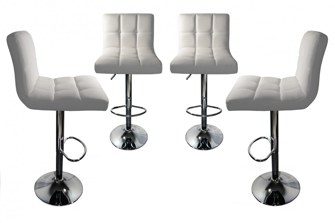 dave lot de 4 tabourets de bar simili blanc lisa. Black Bedroom Furniture Sets. Home Design Ideas
