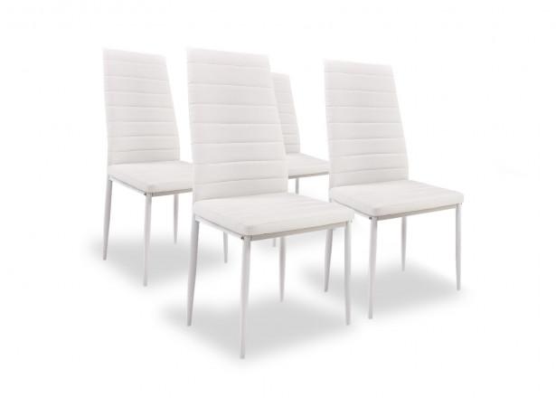 SANDY - Lot de 4 chaises - Simili - Blanc