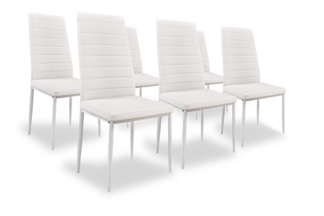 SANDY - Lot de 6 chaises - Simili - Blanc