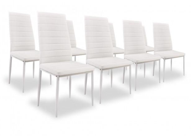 SANDY - Lot de 8 chaises - Simili - Blanc