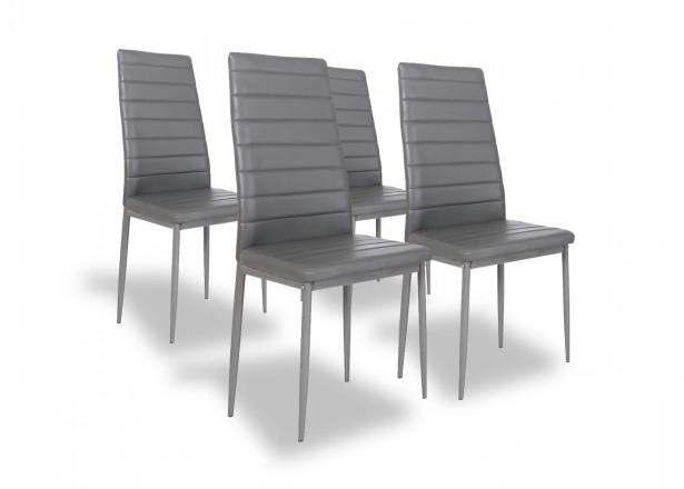 SANDY - Lot de 4 chaises - Simili - Gris