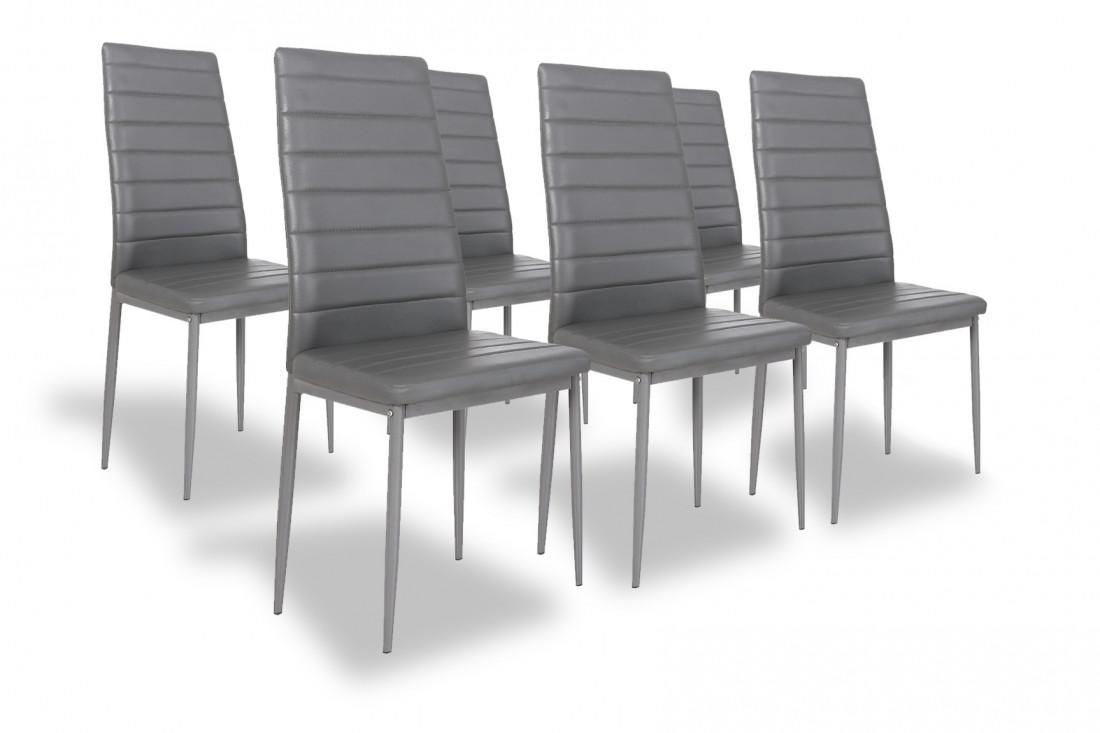 SANDY - Lot de 6 chaises - Simili - Gris