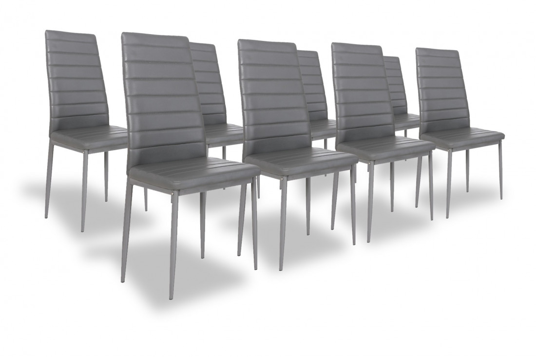 SANDY - Lot de 8 chaises - Simili - Gris
