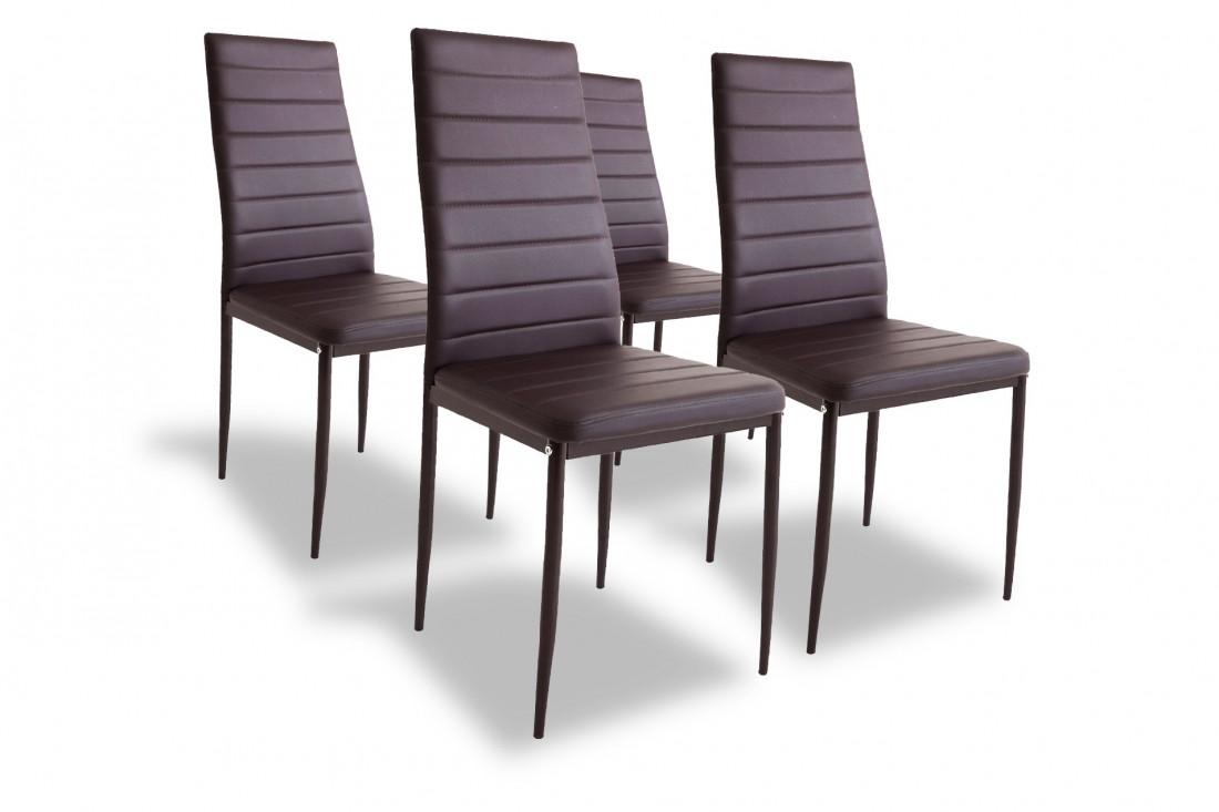 SANDY - Lot de 4 chaises - Simili - Marron