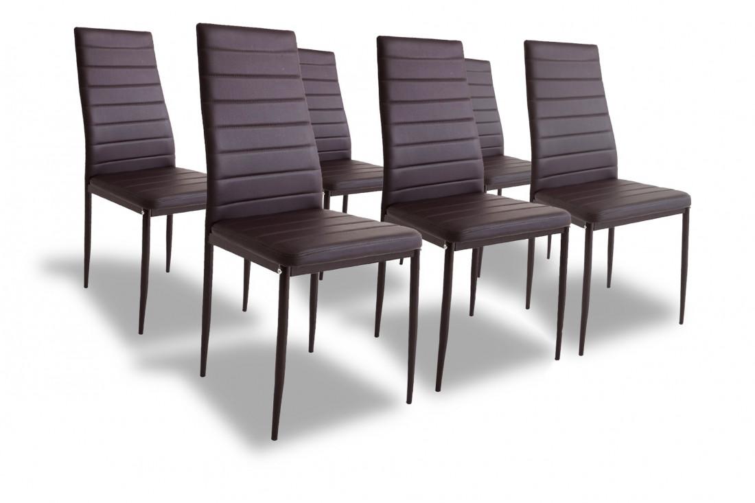 SANDY - Lot de 6 chaises - Simili - Marron