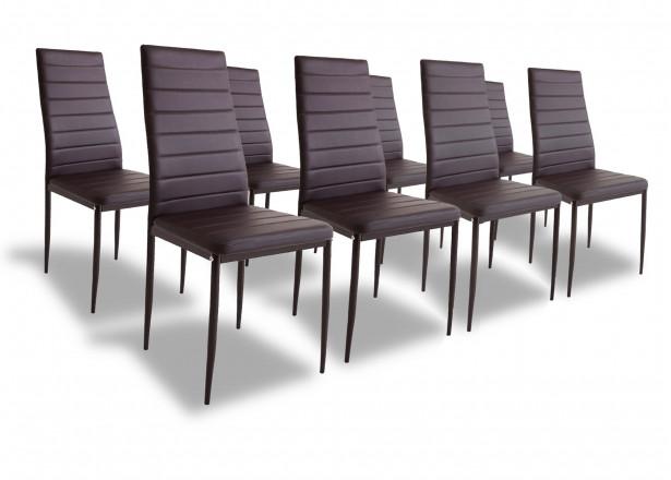 SANDY - Lot de 8 chaises - Simili - Marron