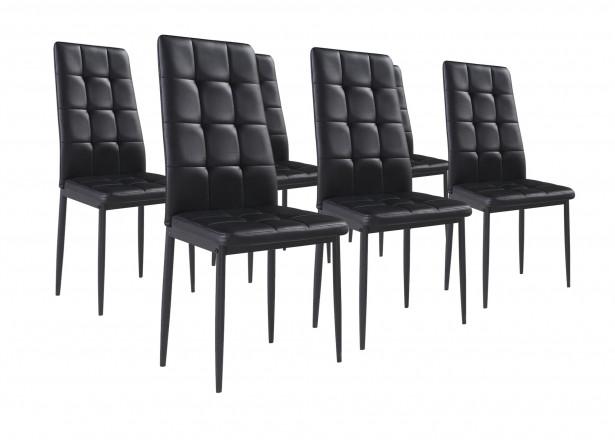 NINA Noir - Lot de 6 chaises
