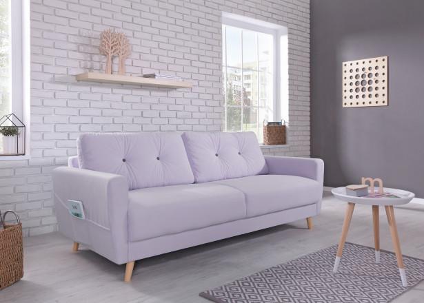 OSLO - Banquette 3 places - 210x90x86cm - Violet poudré