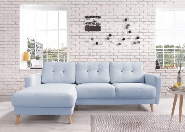 OSLO - Canapé d'angle gauche - Bleu poudré - 225x147x86cm