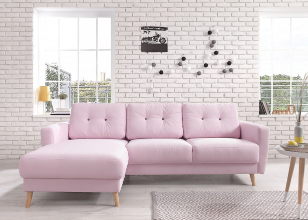 OSLO - Canapé d'angle gauche - Rose poudré - 225x147x86cm