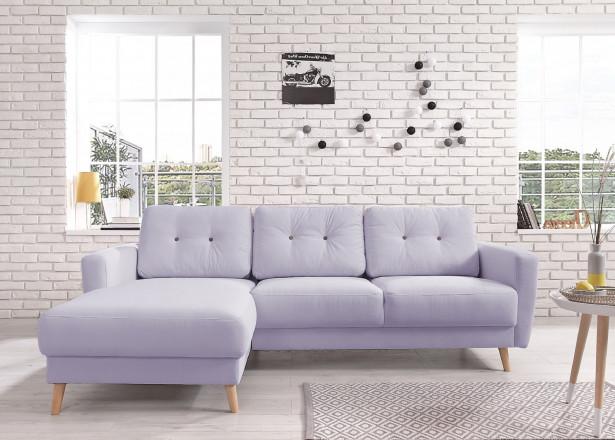 OSLO - Canapé d'angle gauche - Violet poudré - 225x147x86cm