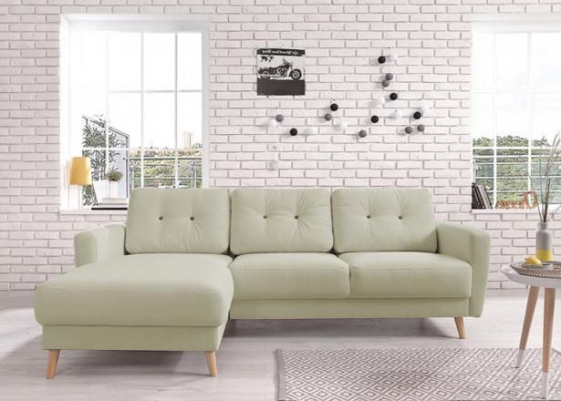 OSLO - Canapé d'angle gauche - Vert poudré - 225x147x86cm