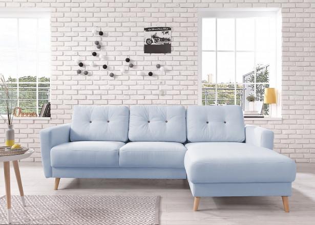 OSLO - Canapé d'angle droit - Bleu poudré- 225x147x86cm