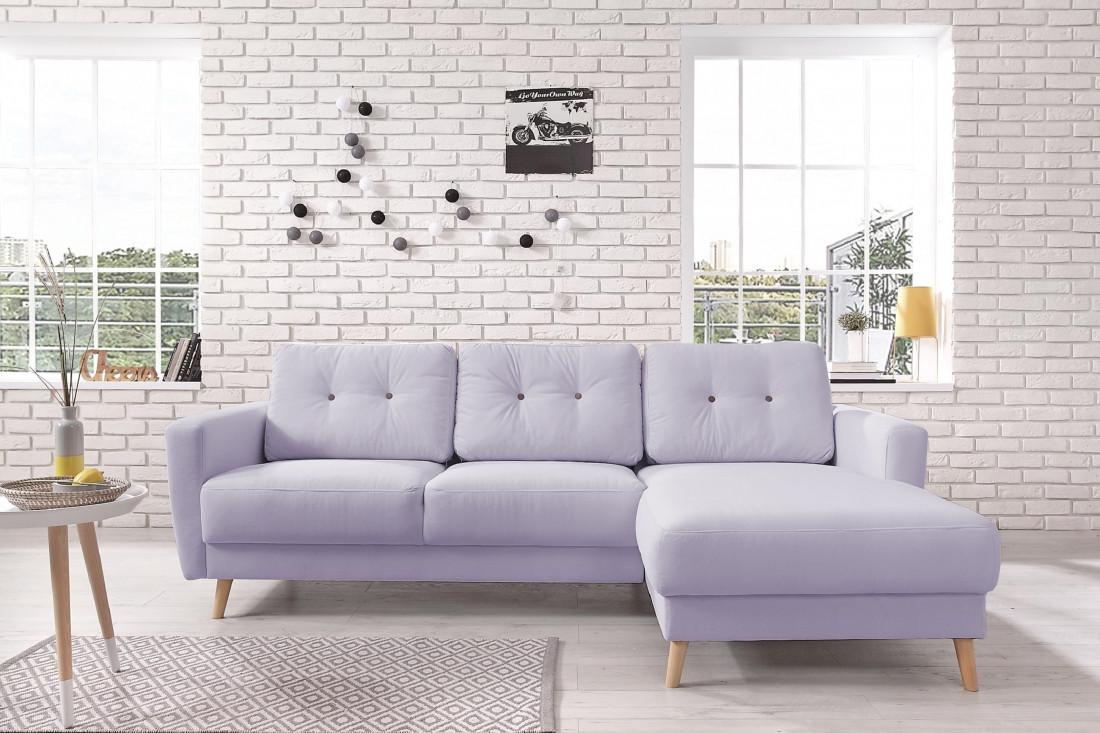 OSLO - Canapé d'angle droit - Violet poudré- 225x147x86cm