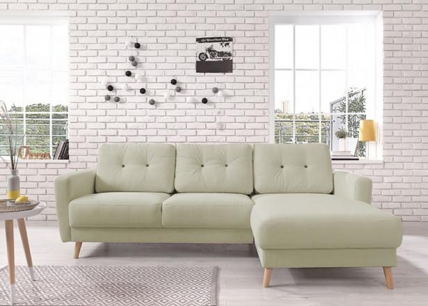 OSLO - Canapé d'angle droit - Vert poudré- 225x147x86cm