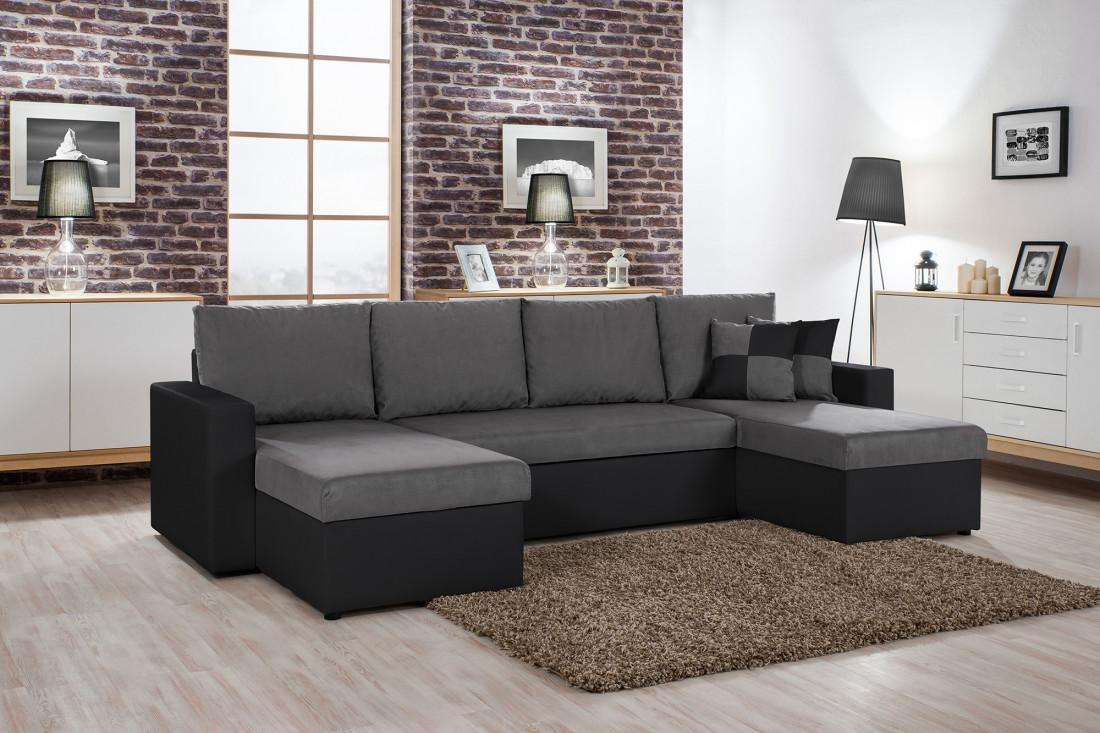 orlando u canap d angle convertible panoramique noir et gris. Black Bedroom Furniture Sets. Home Design Ideas