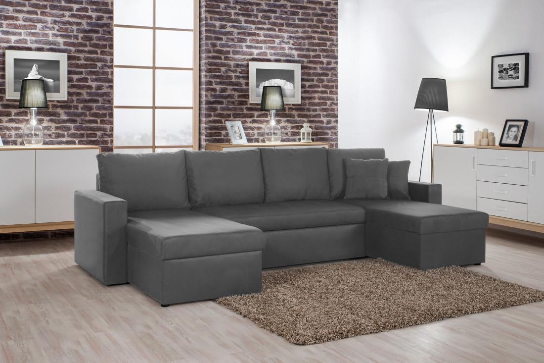 Orlando U – canapé d angle convertible panoramique gris