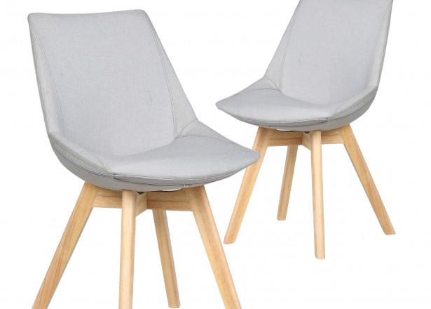 Stranda - Lot de 2 chaises design scandinave - Tissu gris