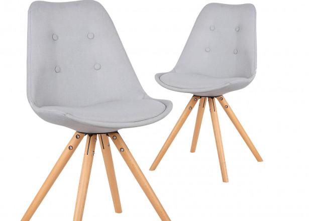 Fiska - Lot de 2 chaises design scandinave - Gris clair