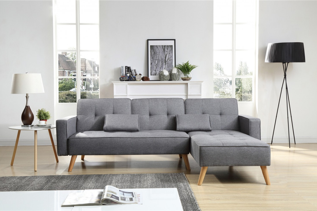 lisea canap d angle r versible gris clair convertible design scandinave. Black Bedroom Furniture Sets. Home Design Ideas