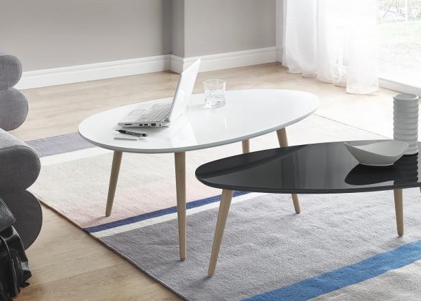 Tables basses Gigognes Scandinaves - Lot de 2 - MDF laqué Blanc / Noir