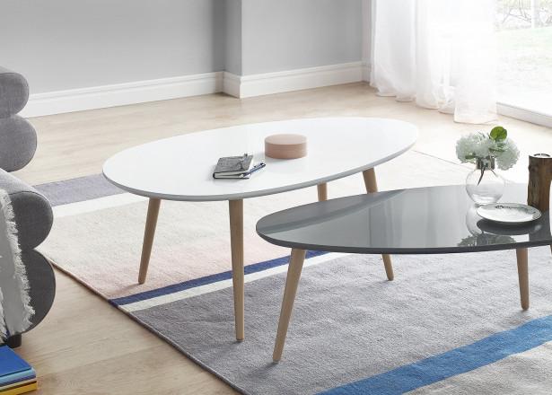 Tables basses Gigognes Scandinaves - Lot de 2 - MDF laqué Blanc / Gris