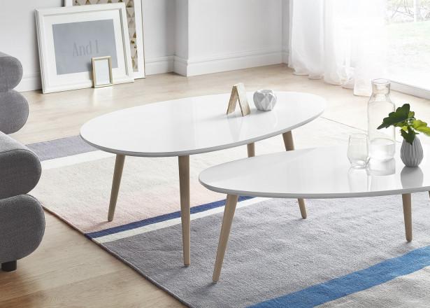 Tables basses Gigognes Scandinaves - Lot de 2 - MDF laqué coloris blanc / blanc