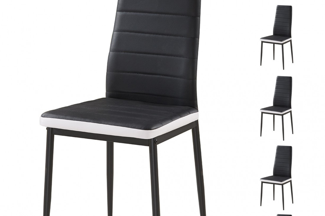 Sandy lot de 6 chaises simili noir blanc lisa design for Chaise noir blanc