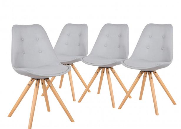 Fiska - Lot de 4 chaises design scandinave - Gris clair