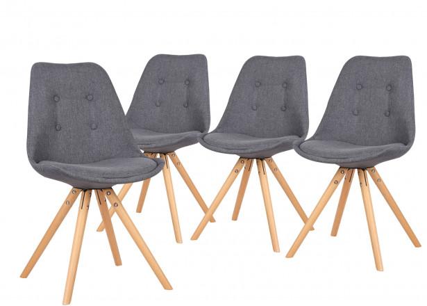 Fiska - Lot de 2 chaises design scandinave - Gris foncé