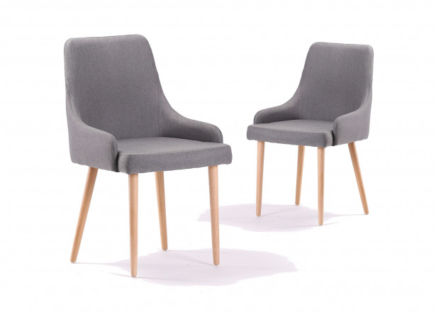 Alvik - Lot de 2 chaises design scandinave - Gris clair