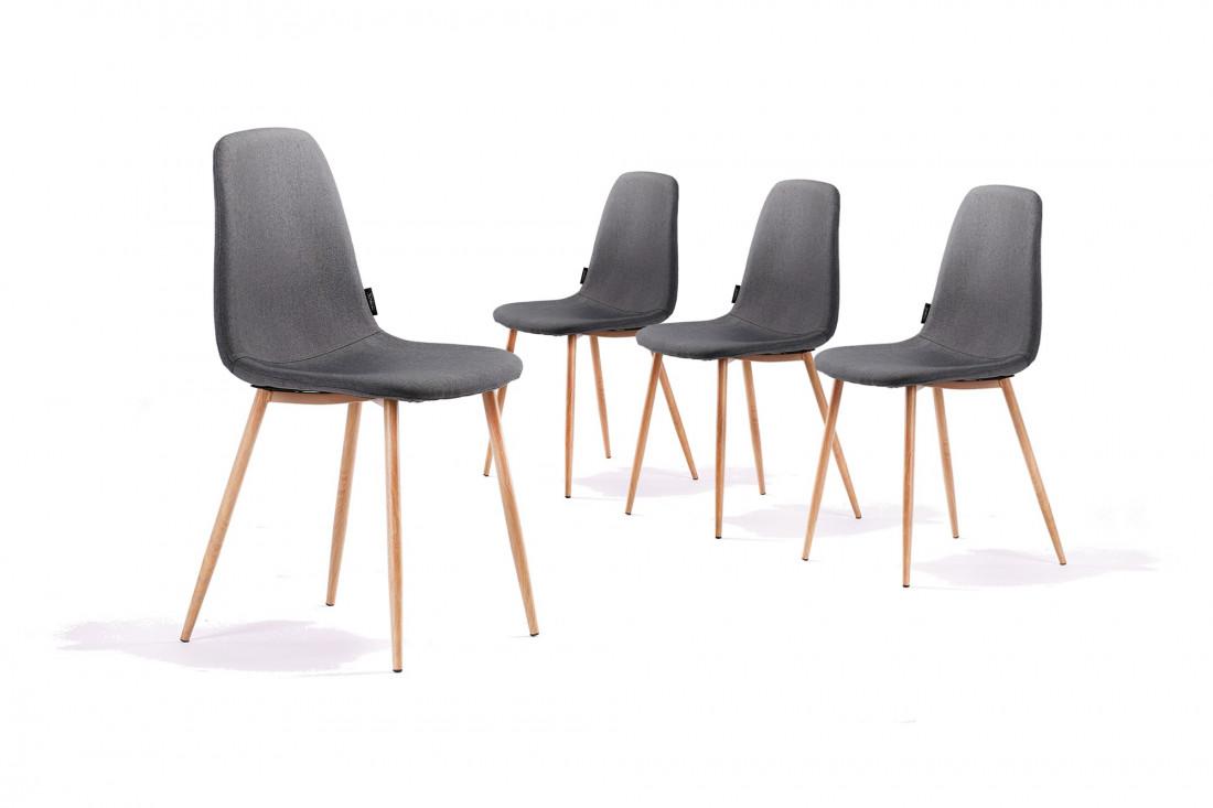 Solna - Lot de 4 chaises design scandinave - Gris foncé