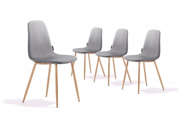 Solna - Lot de 4 chaises design scandinave - Gris clair