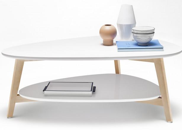 Tables basses Gigognes Scandinaves - Lot de 2- MDF laqué Blanc / Jaune