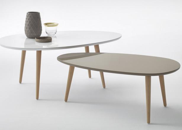 Tables basses Gigognes Scandinaves - Lot de 2- MDF laqué Blanc / Bleu