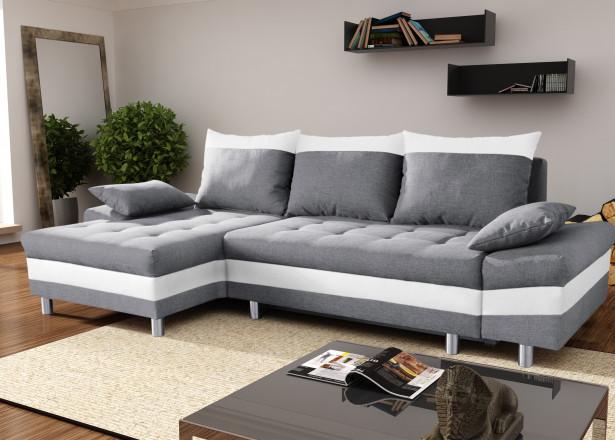 SAN DIEGO Gris/Blanc canapé d'angle gauche