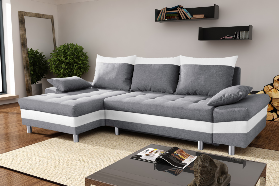 Canap gris et blanc my blog for Canape d angle blanc conforama