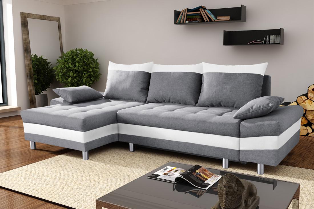 San diego gris blanc canap d 39 angle gauche lisa design - Canape d angle convertible blanc et gris ...