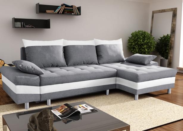 SAN DIEGO Gris/Blanc canapé d'angle droit
