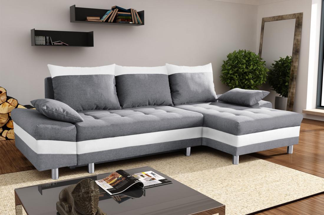 SAN DIEGO Gris Blanc canapé d angle droit Lisa Design