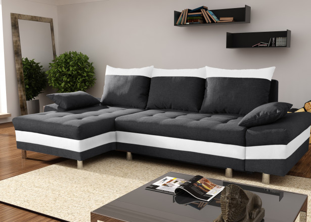 SAN DIEGO Noir/Blanc canapé d'angle gauche