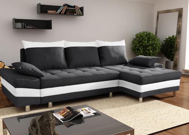 SAN DIEGO Noir/Blanc canapé d'angle droit
