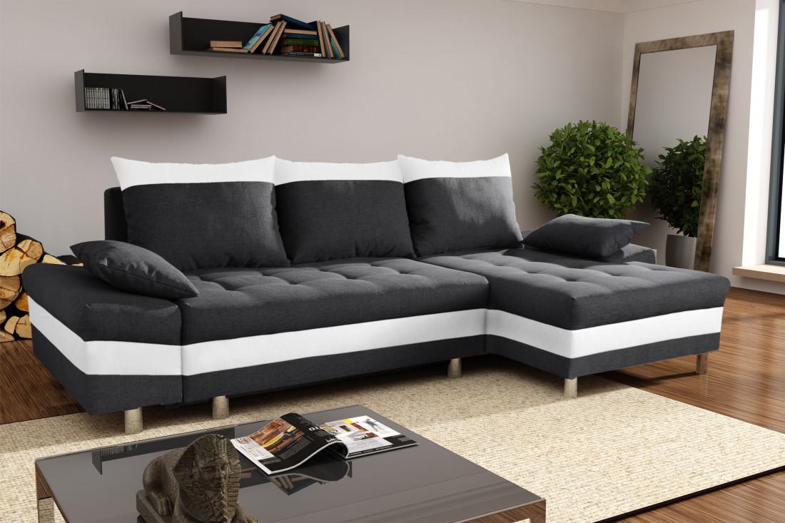 San diego noir blanc canap d 39 angle droit lisa design for Canape d angle droit ou gauche