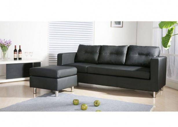 SOFIA noir canapé d'angle